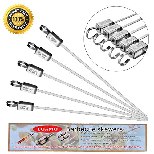 LOAMO Kabob BBQ Barbecue Skewers 14.5 Inch Flat Stainless Steel Metal Grilling Sticks Wide Shish Kabob Skewers Set for Party and Cookout - 5 Pcs by LOAMO