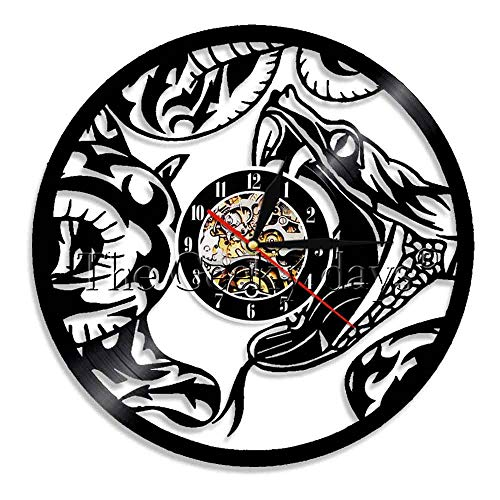 The Geeky Days Snake Vinyl Record Wall Clock Serpent Animal Home Wall Art Decor Reptile Nursery Wall Watch Modern Design(Without LED) ()