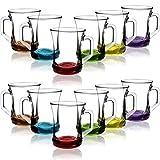 COM-FOUR 12-Piece Tumbler Set, Tea/Coffee/Cappuccino Glass, Dishwasher Safe (Set4-12 Pieces/Tea Glass Colored)