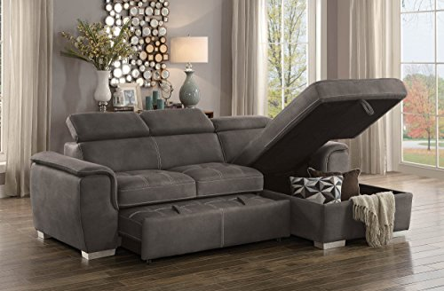 Homelegance Ferriday 98 x 66 Sectional Sleeper with Storage, Taupe