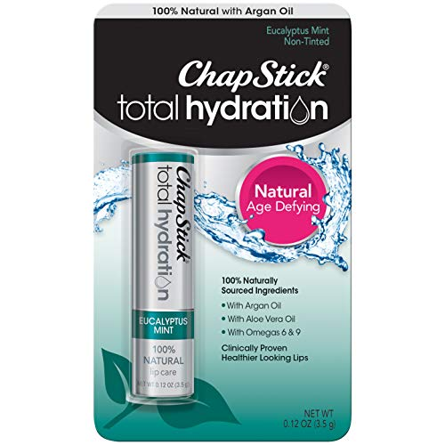 (ChapStick Total Hydration (Eucalyptus Mint Flavor, 1 Blister Pack of 1 Stick) Flavored Lip Balm Tube, 100% Natural Lip Care, Clinically Proven, 0.12 Ounce)