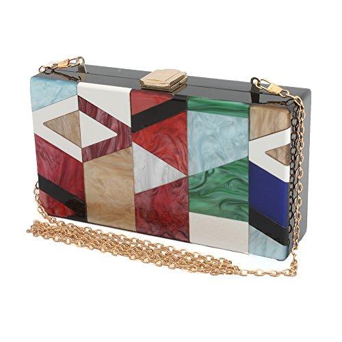 design LETODE bag female Green acrylic colored elegant clutch chain Geometric of gold UxqOwCgx