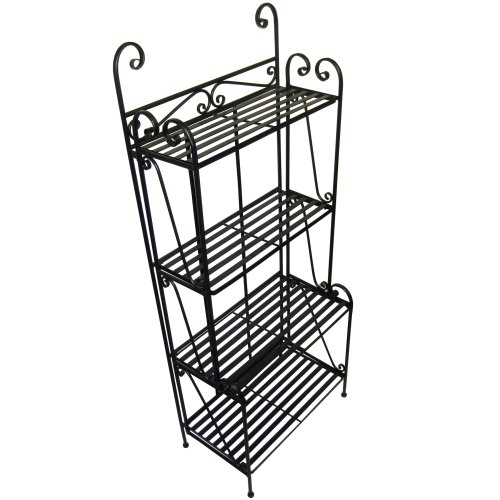Folding Piper Bakers Rack Four Shelves - Black