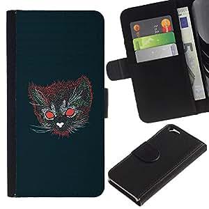 YiPhone /// Tirón de la caja Cartera de cuero con ranuras para tarjetas - Gato psicodélico - Apple Iphone 6