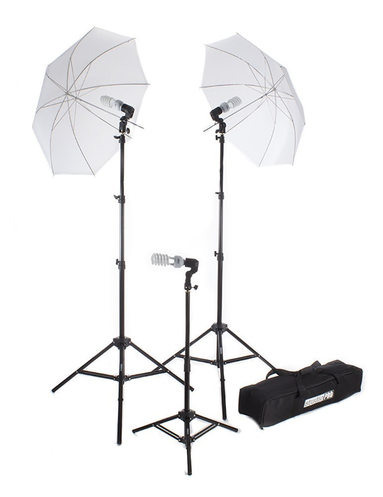 Fovitec - 1x Photography & Video Lighting Kit - [Continuous Light][Cast Iron][Collapsible][45W CFL Bulbs][Translucent Reflector Umbrella] by Fovitec