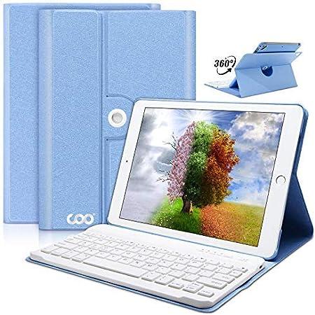 Coo nuevo iPad 9.7 2017 Funda con teclado azul azul celeste