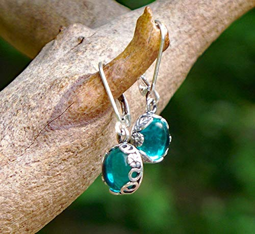 Recycled Vintage Mason Jar Sterling Silver Botanical Collection Leverback Earrings ()