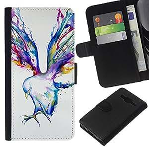 Pintura Blue Jay Arte de la acuarela- la tarjeta de Crédito Slots PU Funda de cuero Monedero caso cubierta de piel Para Samsung Galaxy Core Prime