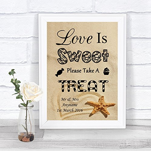 Beach Sand Love Is Sweet Candy Bar Cart Buffet Personalized Wedding Sign