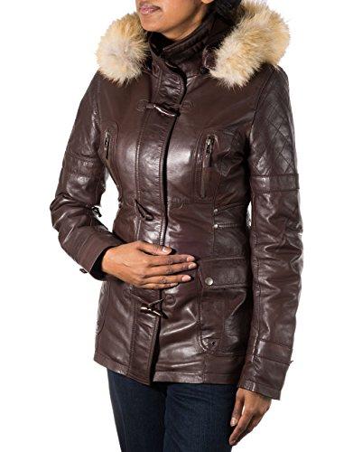 Mujer de color marr—n capa de lona de cuero. Capucha de piel. Cuerno botones de alternancia