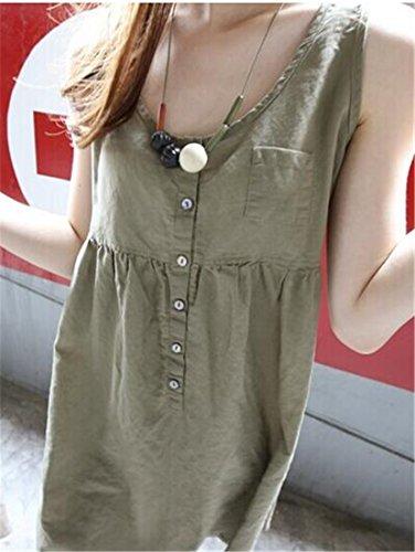Cromoncent Femmes Taille Haute Cou V Bas Armée Botton Robe Tunique Blouse Sans Manches Vert