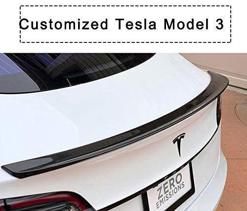 EVFIT Carbon Fiber Tail Wing Rear Spoiler Trunk Lid Spoiler Wing Compatible Tesla Model 3(2017 2018 2019)