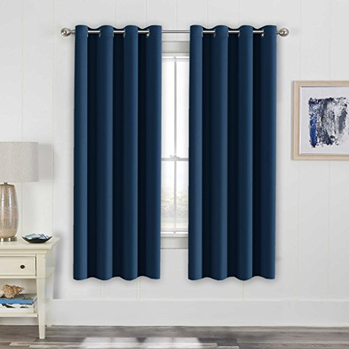 H.Versailtex Blackout Thermal Insulated Navy Curtains for bedroom / Living Room,Antique Grommet  ...