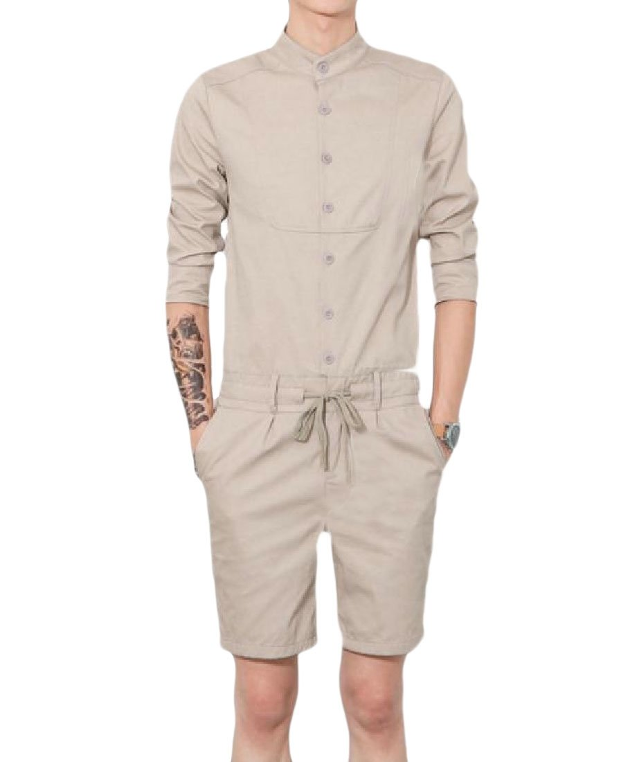 Fenshuda Men 3/4 Sleeve Cargo Shorts Casual Bodysuit Simple Rompers