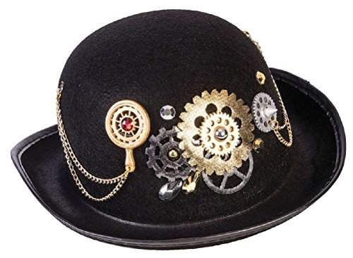 Black Steampunk Bowler Derby Hat Adult Victorian Chains & Gears Costume Acces.