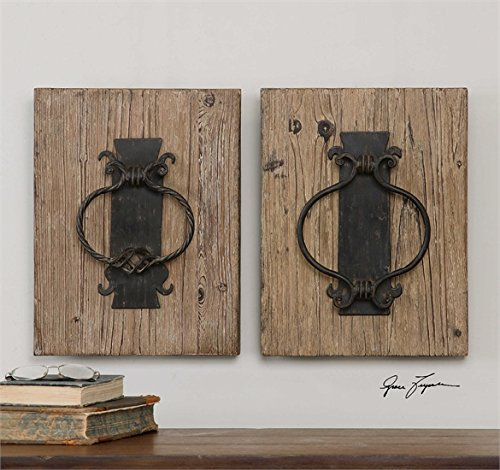 Ambient Metal Door Knocker Replicas Finished In A Rustic Bronze Accented With A Lightly Stained Wood Background Metal Wall Art by Ambient