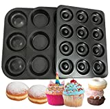 CHEFHUB Small 3 Donut Cupcake Baking Pan Full Sice Donut Molds Cake Molds Non-Stick Carbon Steel 6/12 Cavity Donut Pan Baking Molds For Full-Size And Small Donuts Cupcake Pan Kitchen