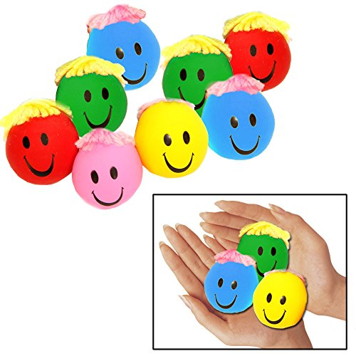 - Toy Cubby Stress Balls - Adorable Colored Smiley Stress Balls Yarn Hair - Pack of 12 Mold-able Balls