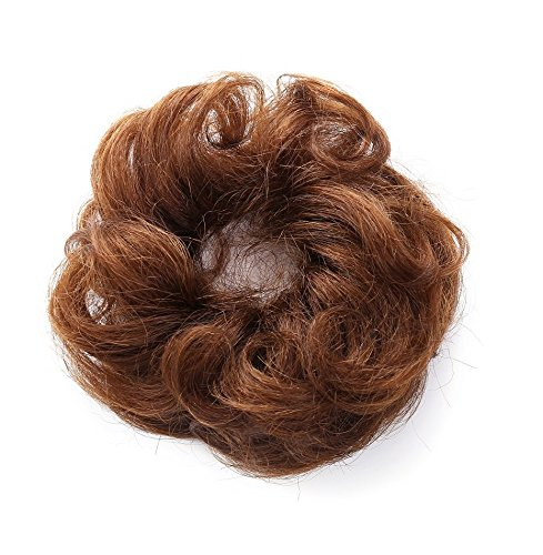 (Rosette 100% Human Hair Scrunchie Extensions Curly Messy Donut Hair Chignons (Brown))