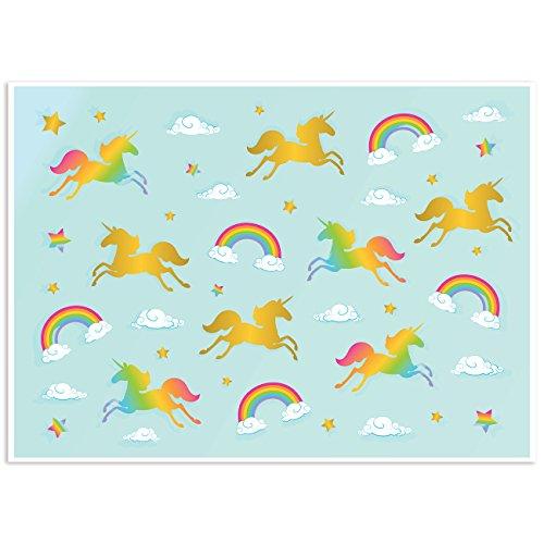 Photo Backdrop - Rainbow Unicorn Photo-Booth Background for Kids Unicorn Birthday Parties, Teal Photography Background, 5 x 7 Feet