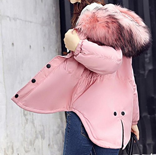 Warm Collar amp;W Women's Puffer amp;S Hoodies Down M Padded Jackets Pink Fur gOtqXnwx