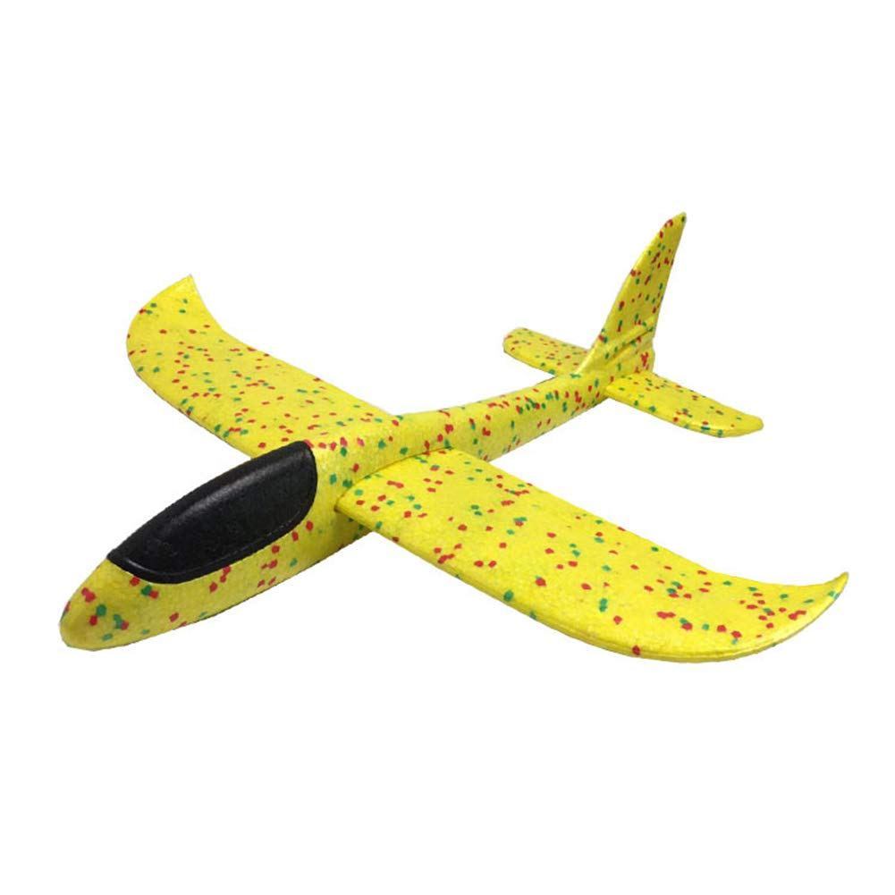 minishop659 48cm Outdoor Manual Sport Airplane Aircraft Toy Throwing Hand Glider Model Kids Gift Yellow