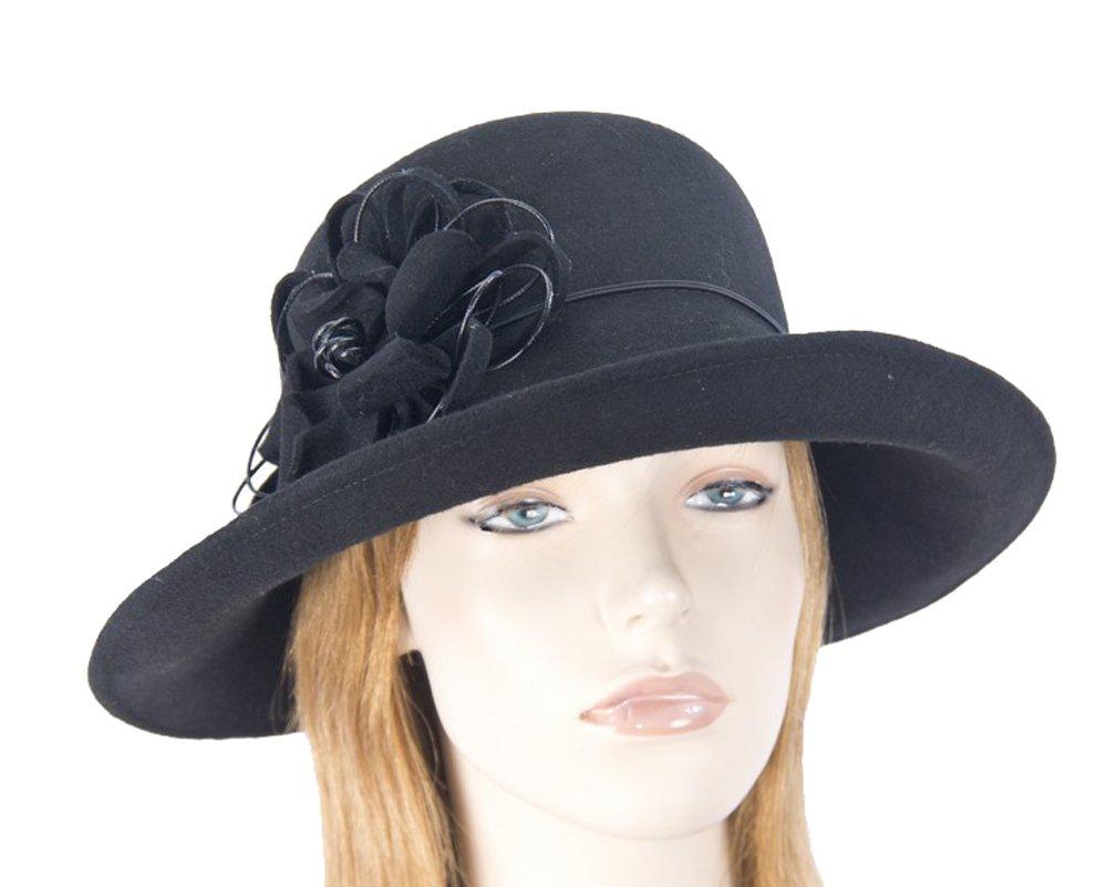 Max Alexander Black pure wool felt ladies winter hat