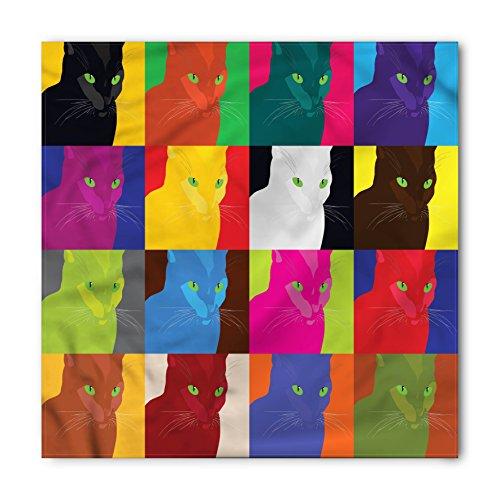 Bandana Pop - Lunarable Unisex Bandana, Cat Pop Art Fractal Kitty Portraits, Pastel Vermilion