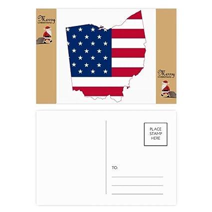 Ohio USA Mapa Estrellas Rayas Forma Bandera Santa Claus ...