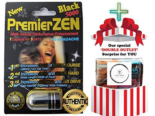 (PremierZen Black 5000 Male Sexual Performance Enhancer [5 Pills + 'Double Outlet')