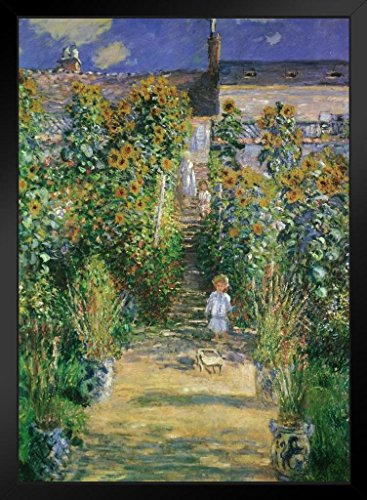 Claude Monet The Artists Garden at Vtheuil 1880 French Impressionist Painting Art Framed Poster 14x20 inch