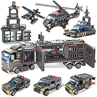 1,020 Piece Police Mobile Command Center Building Bricks Set - 8 in 1 City Toy Blocks Police Station Kit, Storage Box with Baseplates Lid, Popular Roleplay Gift for Kids, Boys and Girls Aged 6- 12