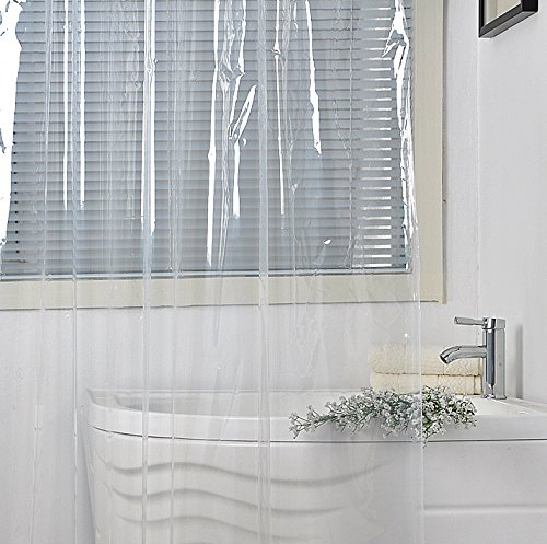 Eforgift Clear PEVA Shower Curtain Liner Water Repellent and Mildew Proof with 3 Weighted Magnets, Non-PVC Vinyl Shower Curtain Non-Toxic Easy Care and Durable, 70 x 70 inches (Transparent Plastic Curtain)