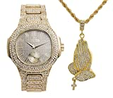 Hip Hop Praying Hands Ice'd Out Necklace with Bling Watch fit for a King!! 8475-SSS41Gold