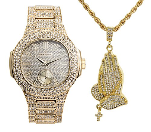 - Hip Hop Praying Hands Ice'd Out Necklace with Bling Watch fit for a King!! 8475-SSS41Gold