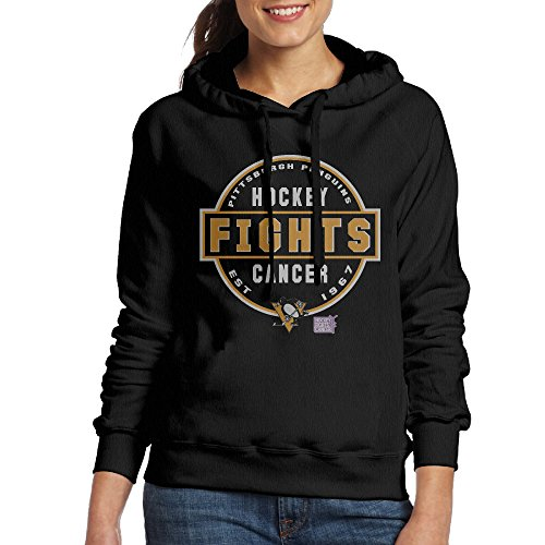Women's Pittsburgh Penguins Hockey Fights Cancer Conquer Pullover Hoodies ()
