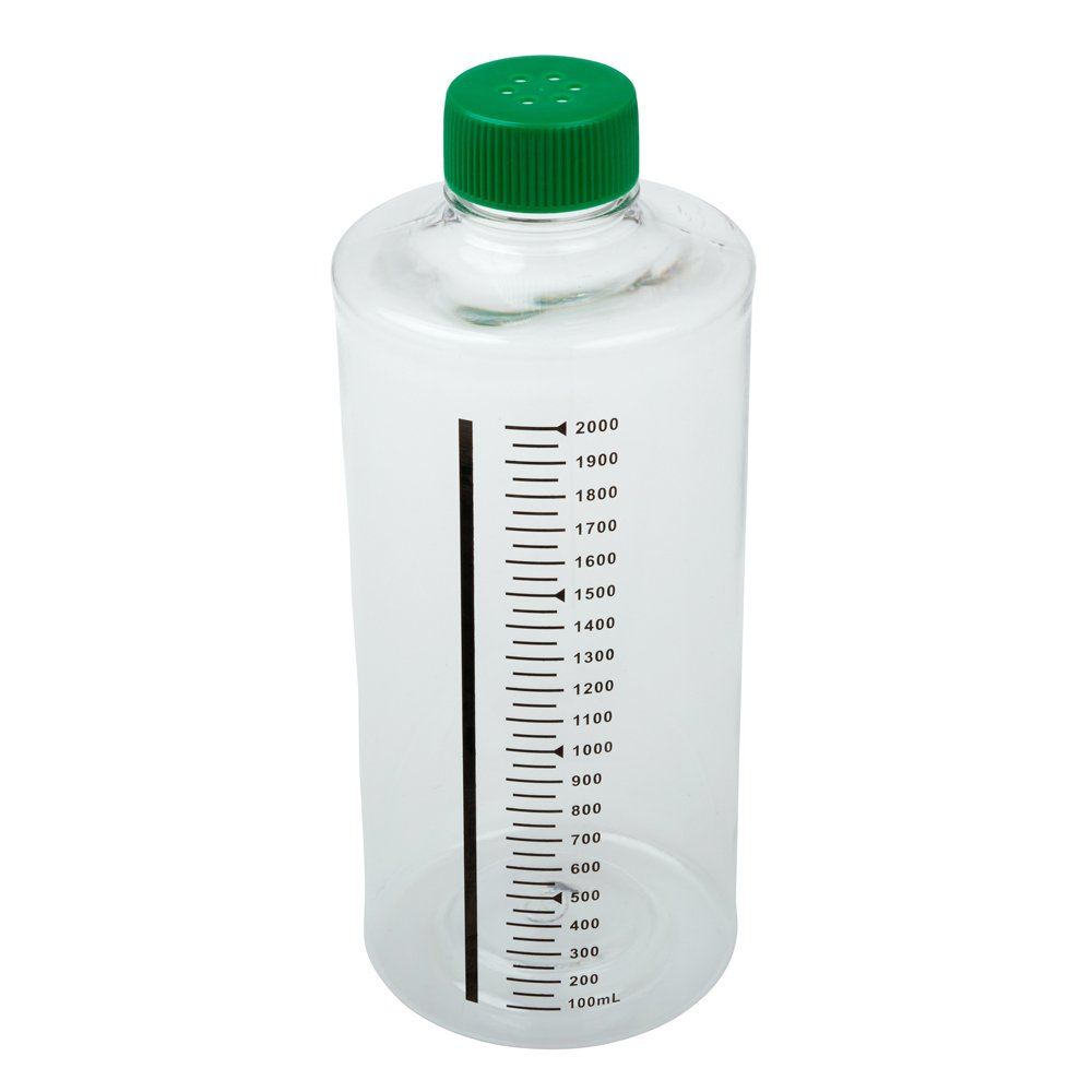 Celltreat 229385 850cm² Roller Bottle, Sterile, Tissue Culture Treated, Printed Graduations, Vented Cap (Case of 12)