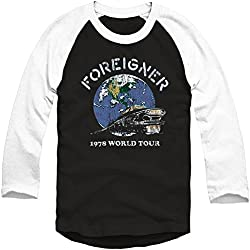 Foreigner Men's Limited Edition 40th Anniversary 1978 Tour Raglan Baseball Jersey Medium Black/White