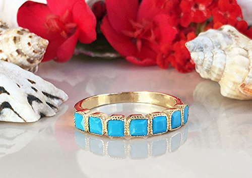 Turquoise Ring - Sleeping Beauty Turquoise - December Birthstone - Half Eternity Ring - Gold Ring - Bezel Ring - Stack Ring