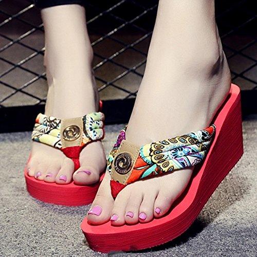 verano Las zapatillas arrastran sandalias de impermeabilizan de del los antideslizantes D playa Los alto zapatos Los Pendiente tacón la las sandalias caracteres gruesas las de pies Cómodo con pinzas de p6xqTHw74a
