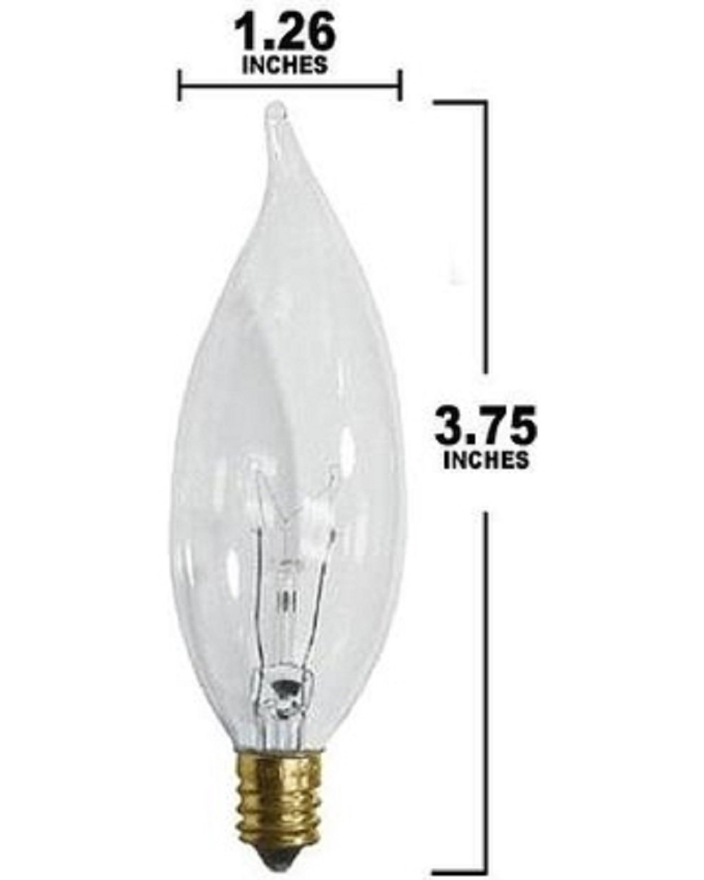 STERL LIGHTING (Pack of 12) 60 Watt Clear Flame Shaped Incandescent Chandelier Light Bulb, Candelabra Base