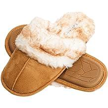 Jessica Simpson Faux Fur Slip On Women's House Slipper With Memory Foam