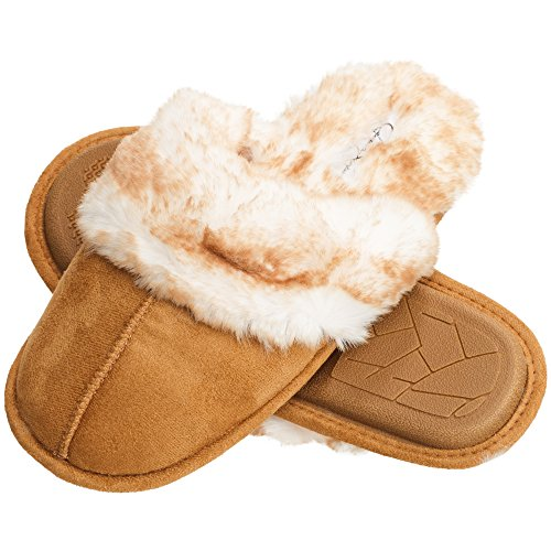 Jessica Simpson Comfy Faux Fur Womens House Slipper Scuff Memory Foam Slip On Anti-Skid Sole (Size Extra Large, Tan)