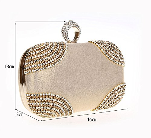 Bagood Purses Handbag Rhinestones Shining Bag Clasp Women's Ring Evening Evening Gold Clutches rCqrxvf