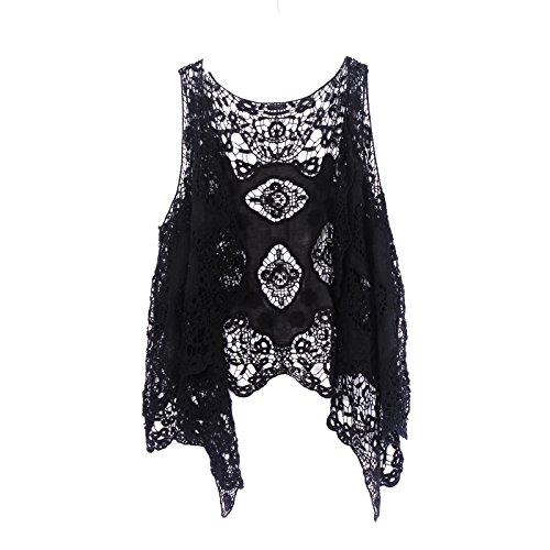 jastie Open Stitch Cardigan Boho Hippie Crochet Vest (Black), One Size - Knit Black Vest