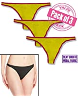 Felina Women's 3 Pack So Smooth Modal Low Rise Thong Panty