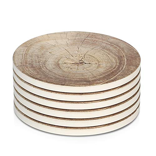LIFVER 6 Pieces Ceramic Drink Coasters, Absorbent Stone Coaster Set, Timber Texture Pattern (Table Timber Round)