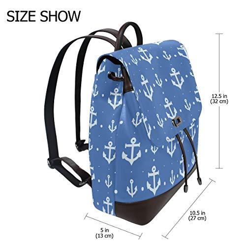 Ankarmönster ryggsäck handväska mode PU-läder ryggsäck ledig ryggsäck för kvinnor