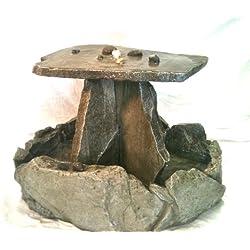 Garden Fountain, Cast Stone, Rock Falls Pond, Tuscan Outdoor Table Top Fountain, Rock Tier Cascade Water Feature, Concrete, Patio & Outdoor, Rock Water Garden