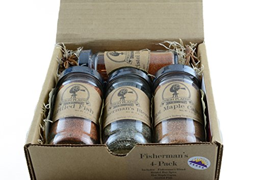 Fishermans 4-Pack ~ BBQ Rub and Spices Gift Set of 4 ~ High Plains Spice Company ~ Gourmet Meat & Veggie Spice Blends & Rubs For Fish, Chicken, All Recipes ~ Spice Blends Handcrafted In Colorado